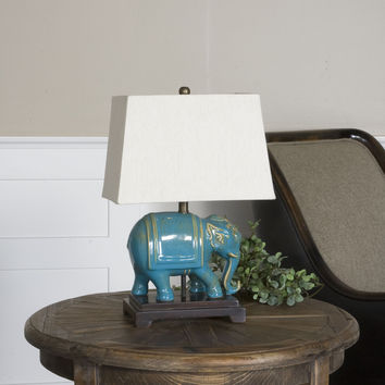 Uttermost Pradesh Blue Ceramic Table Lamp