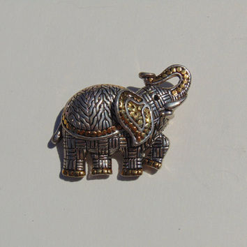 Vintage Elephant Silver and Gold tone Brooch Pin Lapel