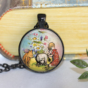 Winnie the Pooh Necklace or Pooh Key Ring Pooh pendant Winnie the Pooh jewelry Bear Necklace Book Necklace Eeyore Necklace