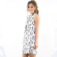 Leaves Print A Line Dress