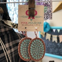 Pink panache rose gold/mint large oval earrings