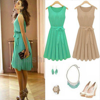 S-XL Summer New Women Sleeveless Chiffon Pleated Vest Casual Mini Dress Skirt