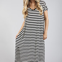 sealed with a stripe dress - black
