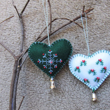 heart felt ornaments felt ornaments christmas decorations doo - Handmade Felt Christmas Decorations