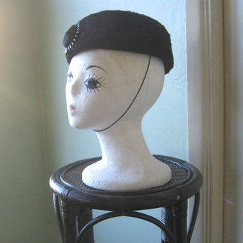 1950s-1960s Black Fur Pillbox Hat - Black Pillbox Hat by 'Mystere' - Jackie O./Fashionista Hat - Midcentury Chic Black Hat