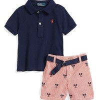 Ralph Lauren Polo & Embroidered Shorts (Baby Boys) | Nordstrom