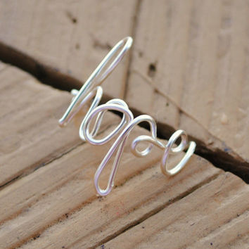 Wire Wrapped Ring Hope by KissMeKrafty on Etsy