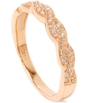 Vintage 1/5CT REAL Diamond Filigree Wedding Stackable Ring 14K Rose Gold Sizes 4-9