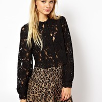 ASOS Cropped Blouse with Heavy Lace - Black $39.99