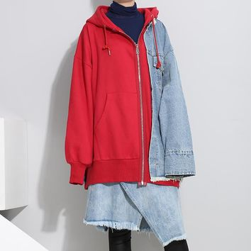 Women Casual Fashion Multicolor Denim Stitching False Two-Piece Long Sleeve Zip Cardigan Loose Hooded Sweater Coat