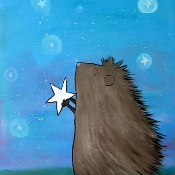 Hedgehog Nursery Decor, Baby Room, Whimsical Painting,  Kids Wall Art