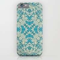 floral lace on blue iPhone & iPod Case by clemm