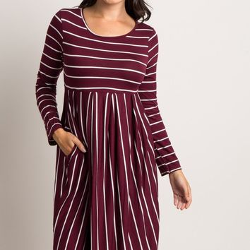 Burgundy-Striped-Long-Sleeve-Midi-Dress