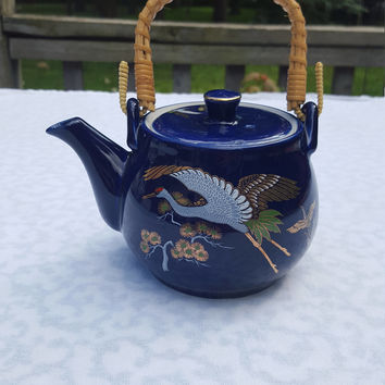 Vintage Japanese Cobalt Blue Teapot, Flying Red Crown Cranes, Gilt trim, Rattan Handle, Built in Strainer, Small Personal Size, Asian Luck