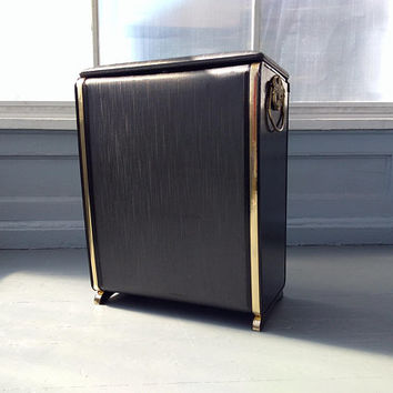Vintage, Hamper, MidCentury Modern, Black, Clothes Hamper, Laundry Hamper, Pearl-Wick, Bathroom Decor, Bedroom Decor, RhymeswithDaughter