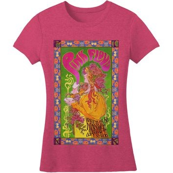 Pink Floyd  Marquee Poster Girls Jr Soft tee Heather Fuchsia