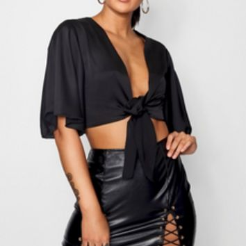 Julia Satin Angel Sleeve Tie Front | Boohoo