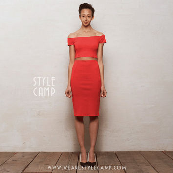 Audrey Two-Piece Off Shoulder Crop Top & Pencil Skirt Co-Ord Set in Bright Red