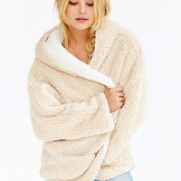 Beige Reversible Faux Fur Hooded Coat Fuzzy Jacket