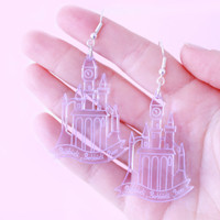 Cinderella Castle Earrings in Purple / gifts for her / christmas gifts