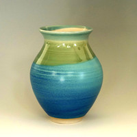 Porcelain vase, flower vase, blue vase, green vase, ceramic vase, handmade, high fired