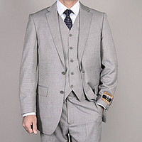 Bertolini Men's Light Gray Wool/ Silk 3-Piece Vested Suit | Overstock.com