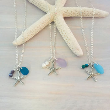 Starfish Necklace - Sea Glass Charm Necklace - Beach Necklace - Ocean Charm Necklace - Sea Star Necklace - Seaglass Necklace - Beach Jewelry