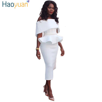 HAOYUAN Ruffle Off Shoulder Strapless Dress 2017 Summer Sundress Tunic Backless Sexy Bodycon Dresses Plus Size Women Clothing