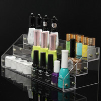 3 Tiers Clear Acrylic Nail Polish Display Stand Makeup Cosmetic Organizer Rack