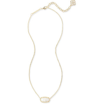 Kendra Scott: Elisa Gold Pendant Necklace In White Pearl