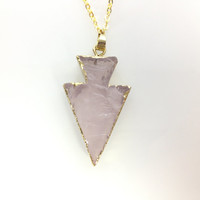 Gold edged Rose Quartz Arrowhead Long Chain Necklace