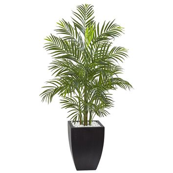 Artificial Silk Tree -4.5 Ft Areca Palm Tree With Black Wash Planter