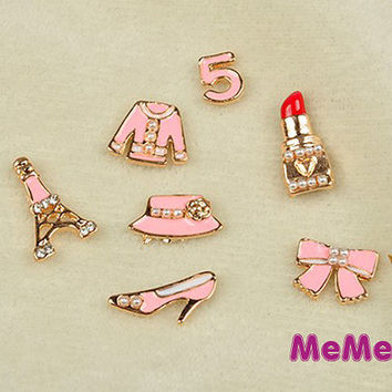 1 Set 7 Pieces Bling Alloy tower Shoe Lip Kawaii Accessories Charm Cabochon Deco Den on Craft Phone Case DIY Deco kit AA1185