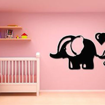 Wall Stickers Vinyl Decal Elephant Mother And Baby Heart Love   (z16112)