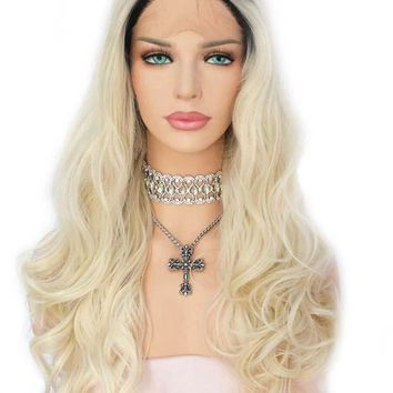 Magdalena- Ombre Dark Roots Blonde Synthetic Lace Front Wig Long Wavy Heat Resistant Fiber Hair