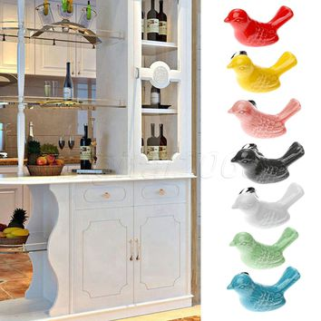 New Hot Ceramic Bird Kitchen Cabinet Cupboard Door Handles Drawer Knobs Wardrobe Pulls Kitchen Furniture Home Pull Handle