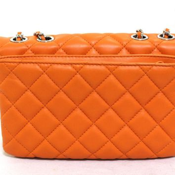 Auth CHANEL W Chain Shoulder bag orange Leather Quilted CC Lambskin (370937)