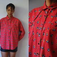 Vtg Mickey Mouse Print Red Button Down LS Shirt