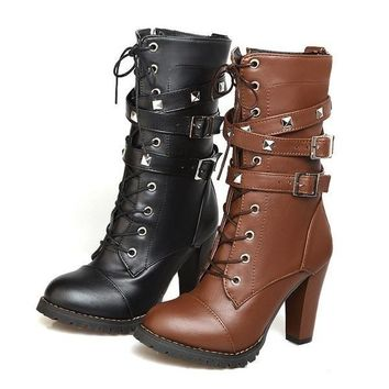 Women's Boots Motorcycle Chunky Heel Platform Leather Sexy Mid-calf Booties Shoes