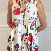 Floral Sleeveless Tunic – Ivy Lane