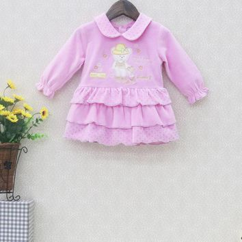 2017 Little Q Velour Baby dress Girls Party Lovely Dresses Long Sleeve Autumn And Spring Children Peter pan Collar Clothes