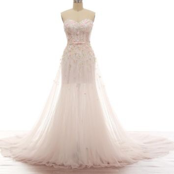 Candy Color Wedding Dresses Illusion Corset Exquisite Handmade Beading Illusion Skirt Leg Soft Tulle with Scarf