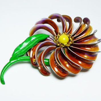 Pinwheel Daisy Enamel Flower Pin, Brown & Purple Petals, Yellow Center Cab, Gold Tone Rhinestones, Vintage 1960's 1970s Mod Flower Power