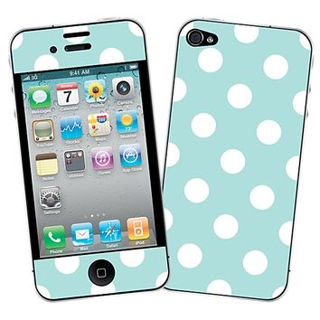 White Polka Dot on Mint Skin for the iPhone 4/4S by skinzy.com