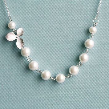 Elegant Pearls and orchid flower Sterling by tyrahandmadejewelry