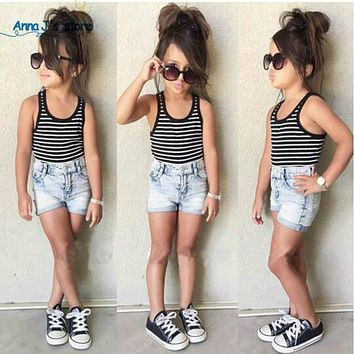 New girls clothing set fashion children's clothing sets lovely stripe vest + jeans For girls clothes set