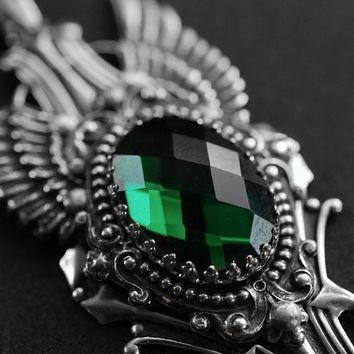 The Fallen - antique silver winged necklace with emerald green glass cabochon - gothic victorian jewelry