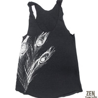 Womens Peacock FEATHERS american apparel Tri-Blend Racerback Tank Top S M L (9 Color Options)