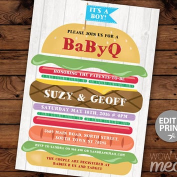 BABYQ Baby Shower Invitation INSTANT DOWNLOAD bbq Couples Invite It's A Boy Fun Burger Stack Party Blue Twins Personalize Edit Printable