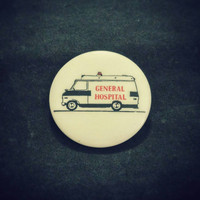 "Vintage ""General Hospital"" Ambulance pinback button"